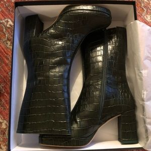 8151468c7750f Miista Shoes - MIISTA Carlota Green Croc Mid Calf Boot 7.5